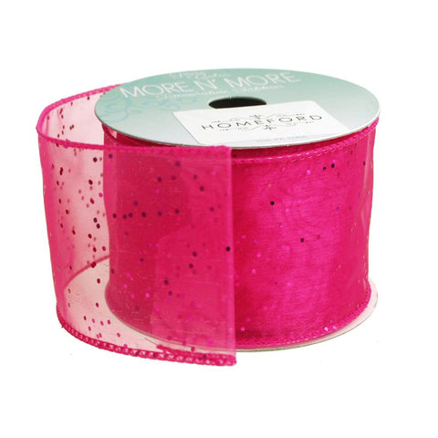 Metallic Dots Chiffon Ribbon Wired Edge, 2-1/2-Inch, 10 Yards, Cerise
