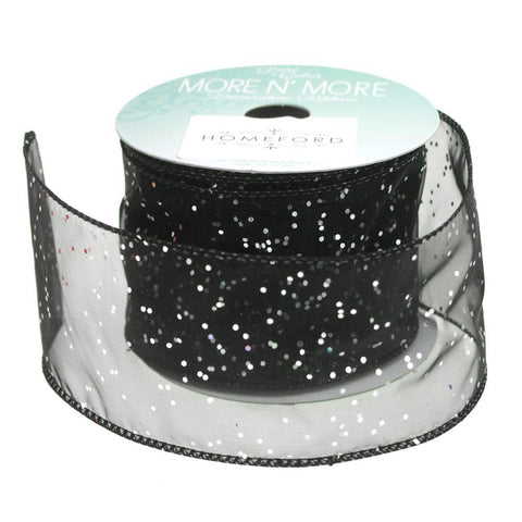 Metallic Dots Chiffon Ribbon Wired Edge, 2-1/2-Inch, 10 Yards, Black