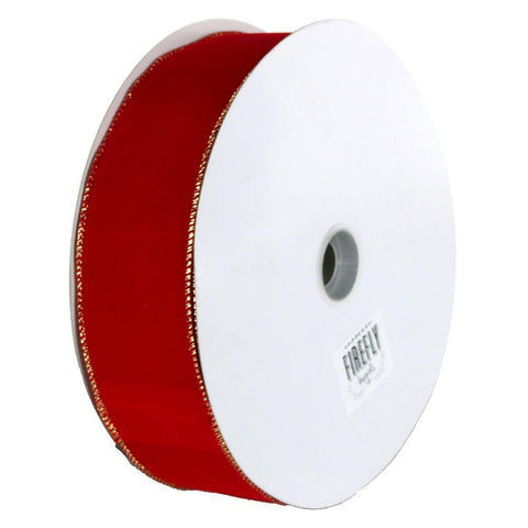 Christmas Velvet Ribbon Wired Edge, 2-1/2-Inch, 50 Yards, Red/Gold