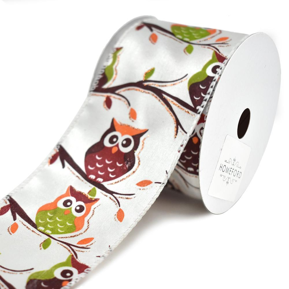 Glitter Owl on Branches Satin Wired Ribbon, Multi-Color, 2-1/2-Inch