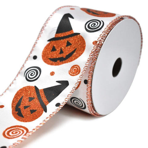 Glitter Jack-O-Lantern Satin Wired Ribbon, Orange/Black, 2-1/2-Inch