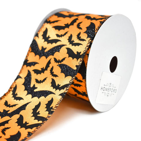 Glitter Bats Wired Halloween Ribbon, Orange/Black, 2-1/2-Inch, 10-Yard