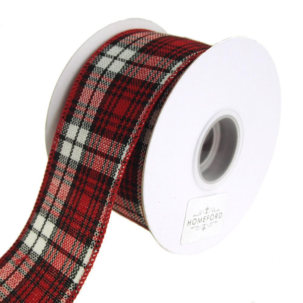 Cabin Natural Woolen Checkered Wired Holiday Christmas Ribbon, Red ...