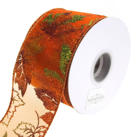 Glitter Leaves Sheer Organza Wired Ribbon, Orange, 2-1/2-Inch, 10 Yards