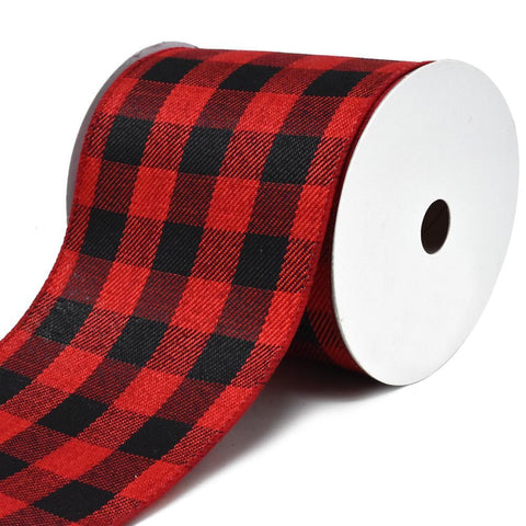 Buffalo Plaid Twill Wired Christmas Ribbon, 4-Inch, 10-Yard