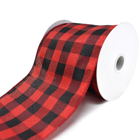 Buffalo Plaid Twill Wired Edge Christmas Ribbon, Red/Black, 4-Inch, 10-Yard
