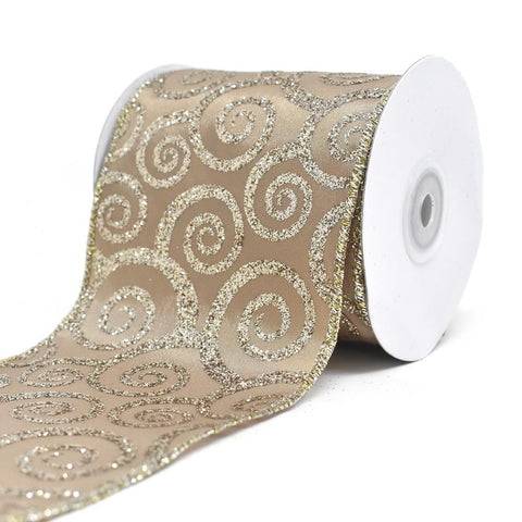 Glitter Swirl Taffeta Wired Edge Christmas Ribbon, Champagne, 4-Inch, 10-Yard