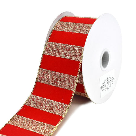 Christmas Golden Glitter Bars Striped Velvet Wired Ribbon, 2-1/2-Inch. 10-Yard