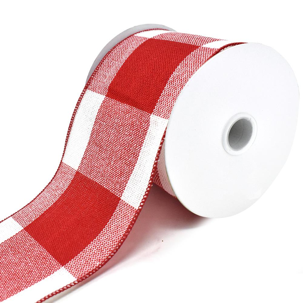 Stitched Gingham Wired Edge Christmas Ribbon, Red/White, 4-Inch, 10-Yard