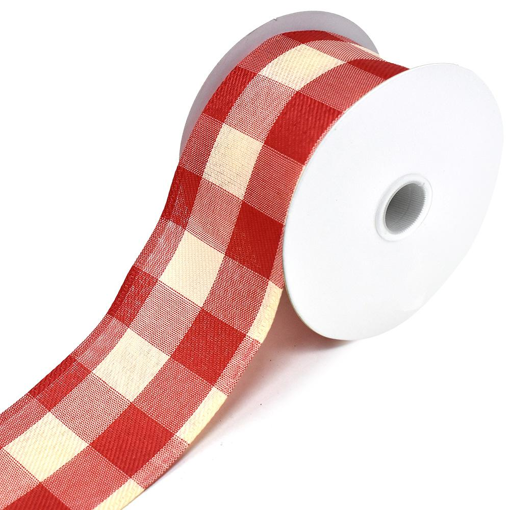 Buffalo Gingham Wired Edge Christmas Ribbon, Cream/Red, 2-1/2-Inch, 10-Yard