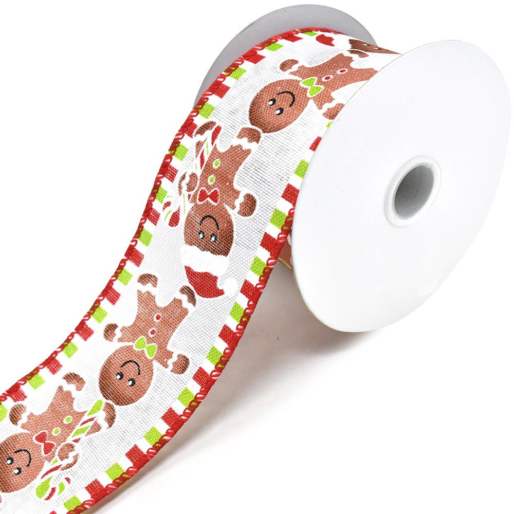 Gingerbread Man Linen Wired Edge Christmas Ribbon, White, 2-1/2-Inch, 10-Yard