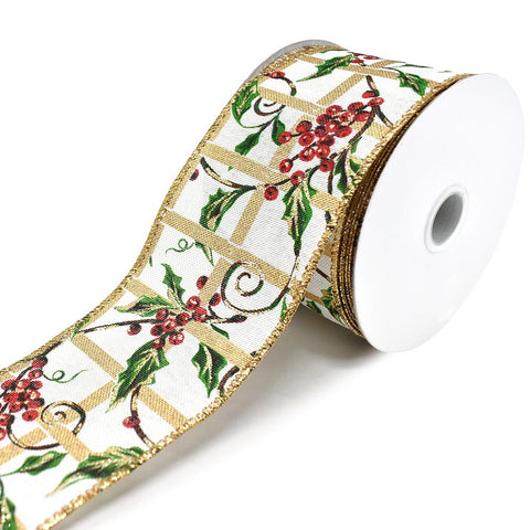 Berry Vine Linen Wired Edge Christmas Ribbon, White, 2-1/2-Inch, 10-Yard