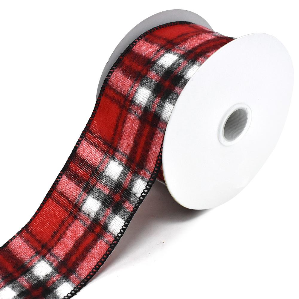 Flannel Plaid Wired Edge Christmas Ribbon, Red/Black, 2-1/2-Inch, 10-Yard