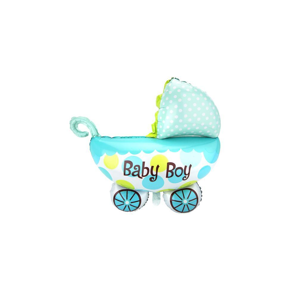 Jumbo Baby Carriage Foil Balloon, 24-Inch, Blue