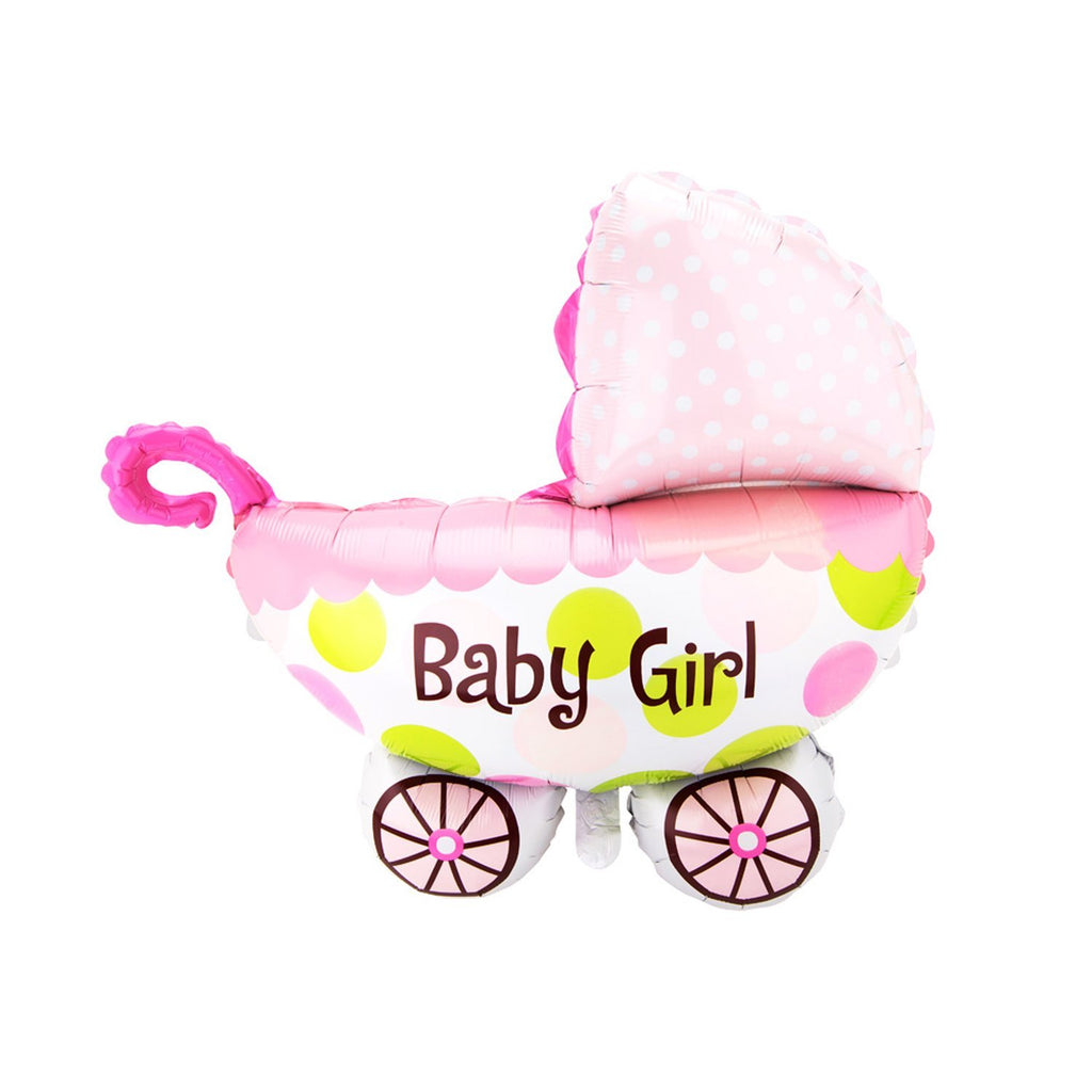 Jumbo Baby Carriage Foil Balloon, 24-Inch, Pink