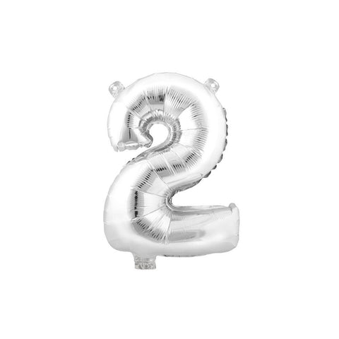 "Aluminum Foil Number Balloon ""2"", Silver, 34-Inch"