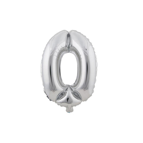 "Aluminum Foil Number Balloon ""0"", Silver, 34-Inch"