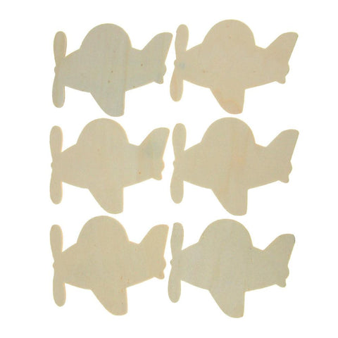 Airplanes Laser Cut Wooden Favors, Natural, 4-Inch, 6-Piece