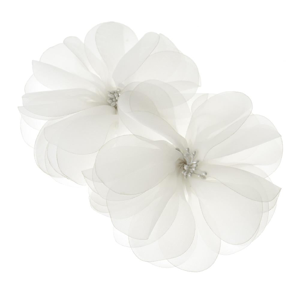 Organza Flowers with Beaded Center, 5-3/4-Inch, 2-Count, White