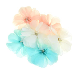 Organza Flowers with Beaded Center, 5-3/4-Inch, 2-Count