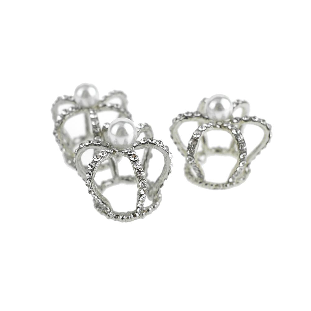 Mini Royal Rhinestone Crown Embellishments, 1-Inch, 3-Piece, Silver