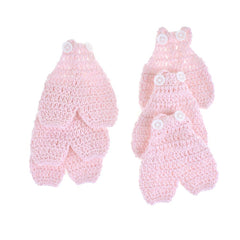 Mini Crochet Knitted Overall Jumper Favors, 2-3/4-Inch, 6-Piece, Pink