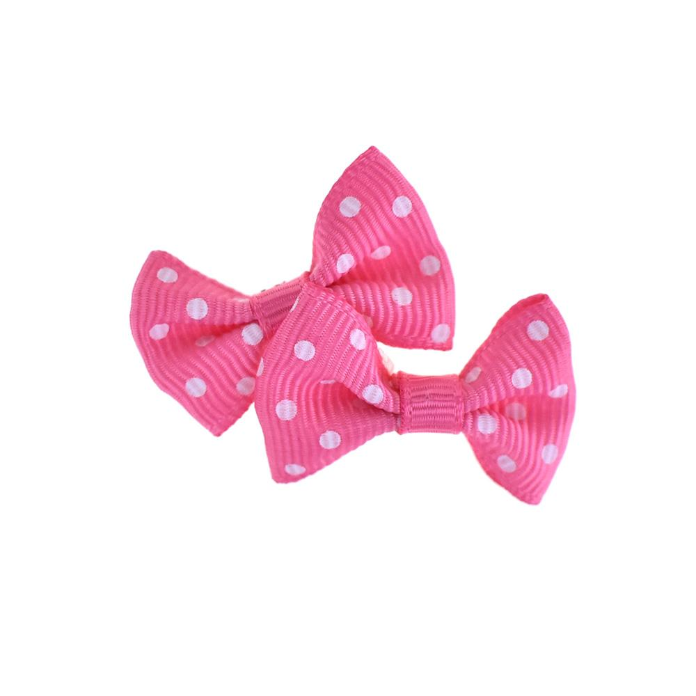 Mini Polka Dot Tied Grosgrain Bow Favor Embellishments, 1-1/2-Inch, 12-Piece, Fuchsia