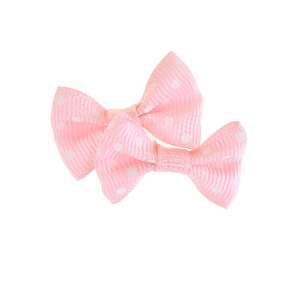 Mini Polka Dot Tied Grosgrain Bow Favor Embellishments, 1-1/2-Inch, 12-Piece, Pink
