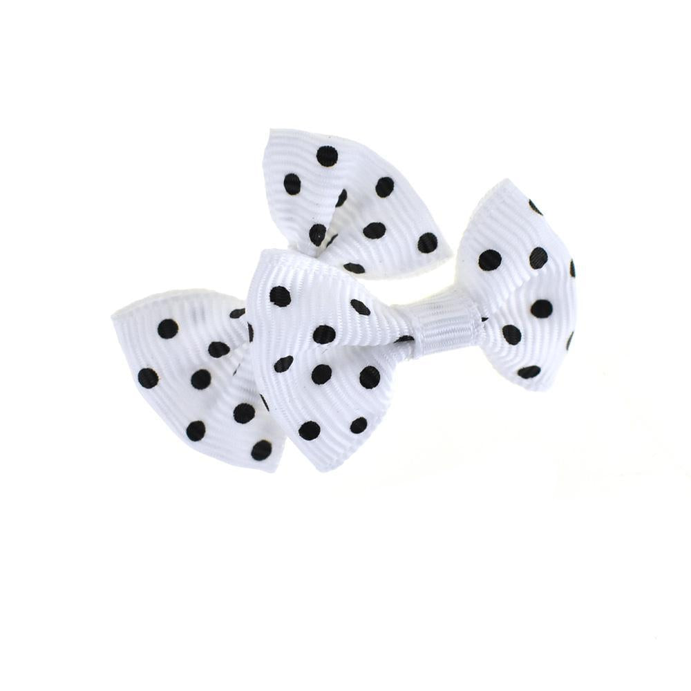Mini Polka Dot Tied Grosgrain Bow Favor Embellishments, 1-1/2-Inch, 12-Piece, White