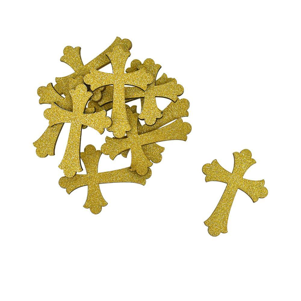 Small Glitter Wooden Cross Cut-Outs, 1-3/4-Inch, 10-Piece, Gold