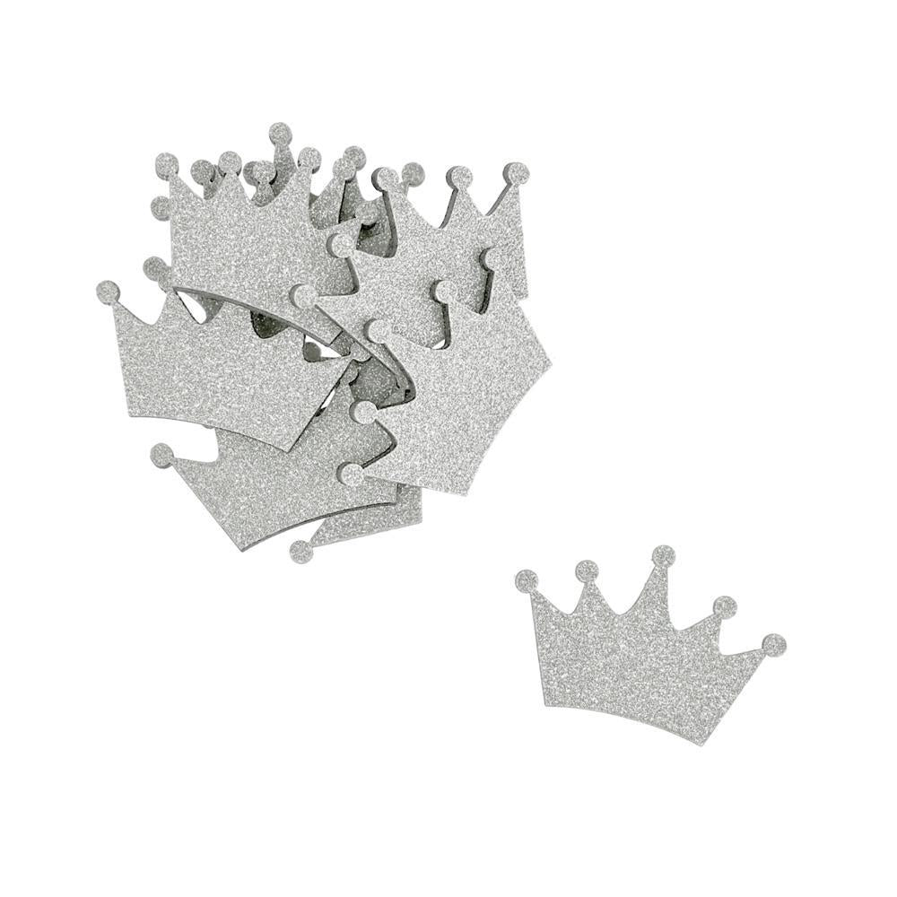 Small Glitter Wooden Crown Cut-Outs, 1-1/2-Inch, 10-Piece, Silver