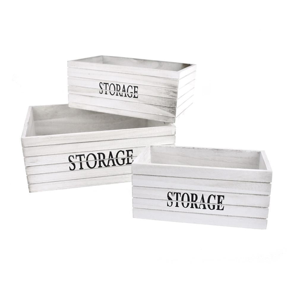 Rustic Style Wooden Crates, White, Assorted Sizes, 3-Piece