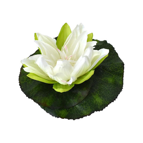 Artificial Floating Water Lily Head Garden Decor, Cream, 6-1/2-Inch