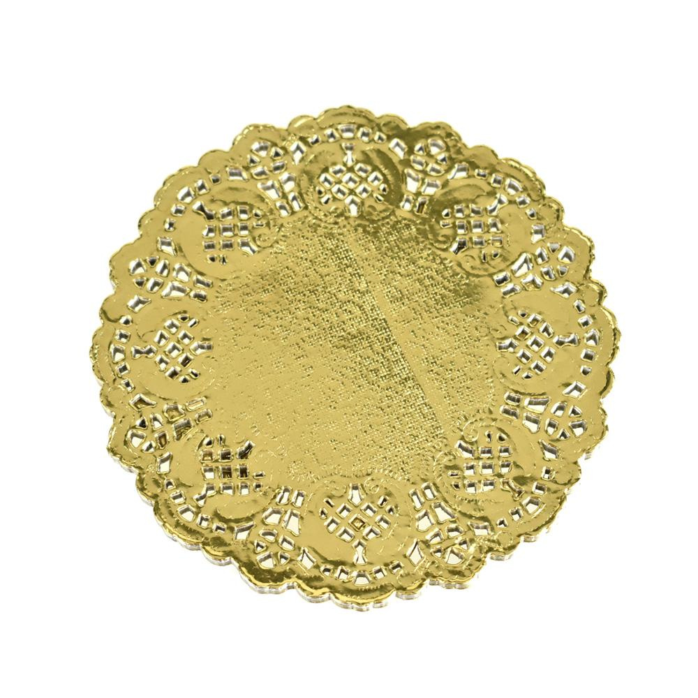 Round Paper Lace Doilies, Gold, 4-1/2-Inch, 30-Count