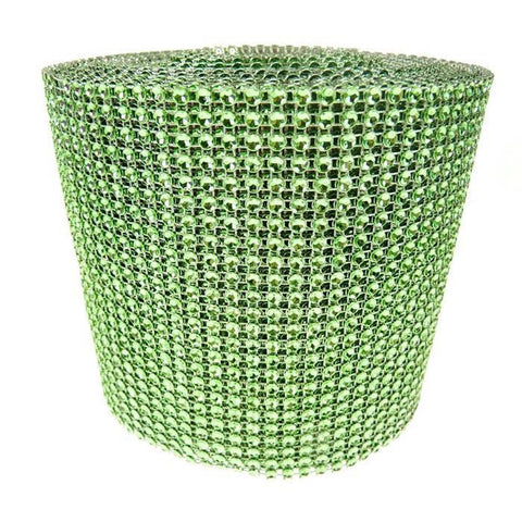 Rhinestone Diamond Wrap Ribbon, 4-3/4-Inch, 10 Yards, Apple Green