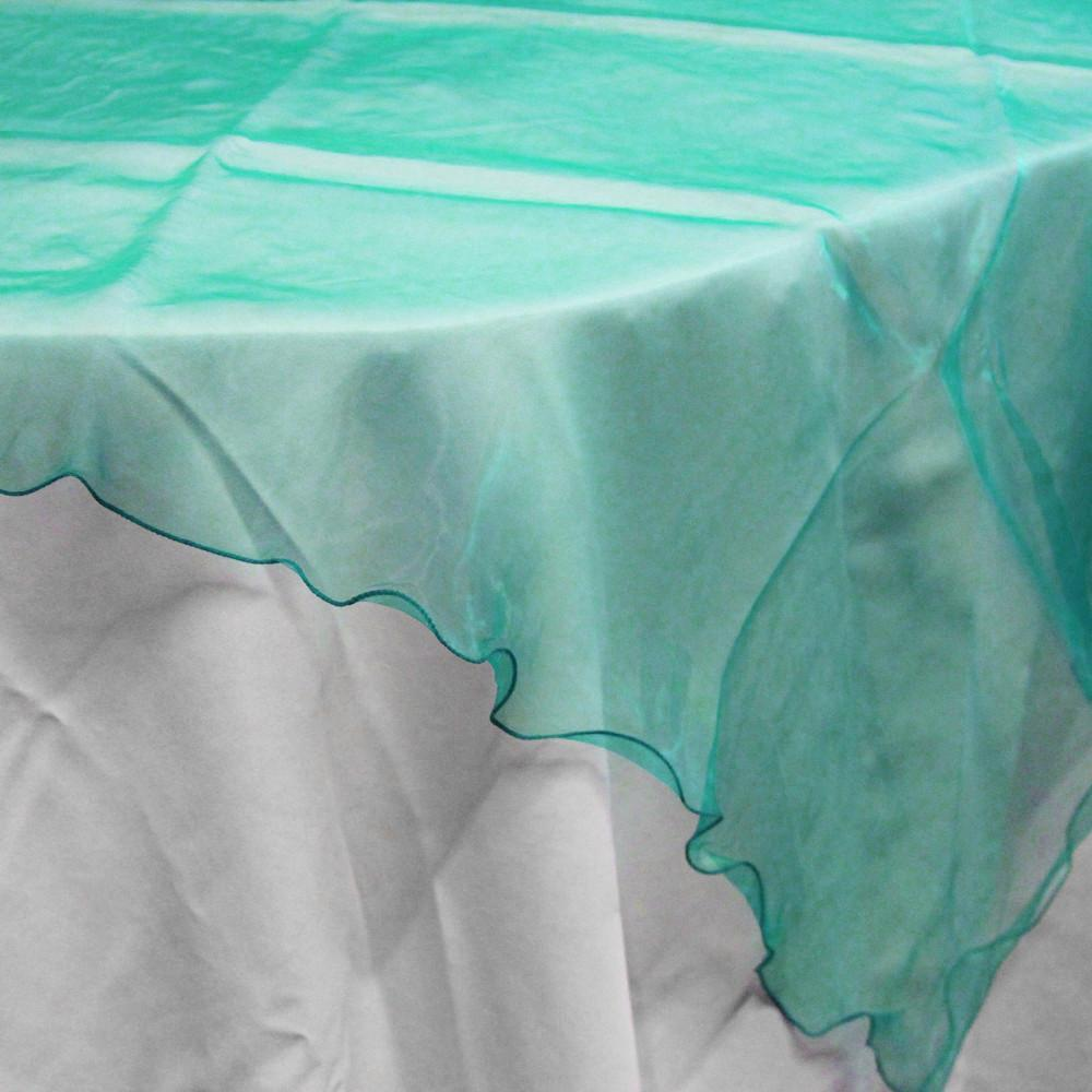Organza Table Cover Overlay, 80-inch, Turquoise