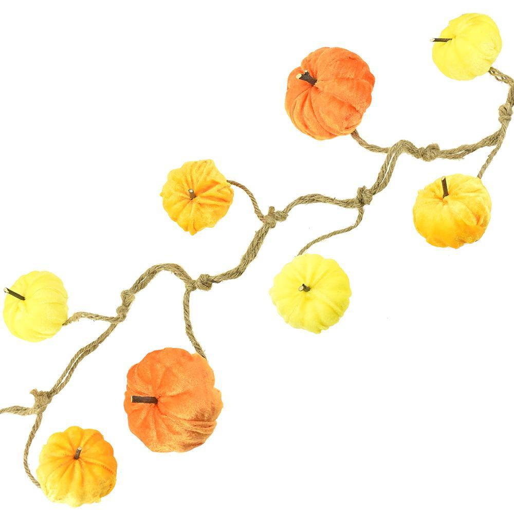 Autumn Velvet Pumpkin Garland, 4-1/2-Feet