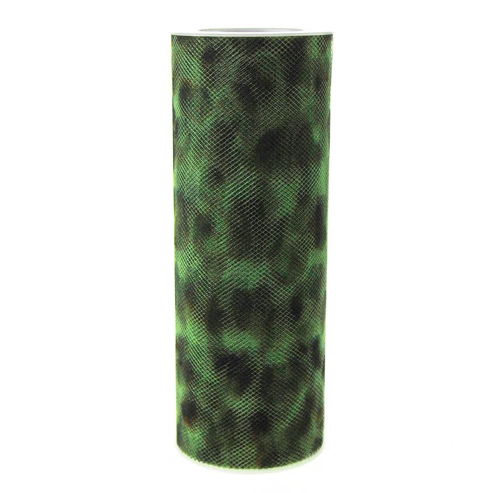Cheetah Print Tulle Spool, 6-Inch, 10 Yards, Apple Green