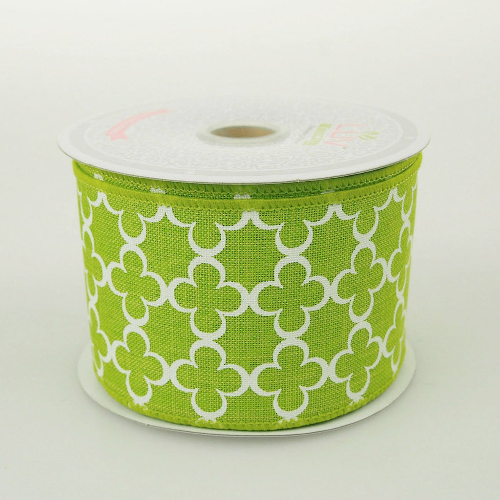 Quatrefoil Spade Canvas Ribbon, 2-1/2-Inch, 10 Yards, Apple Green