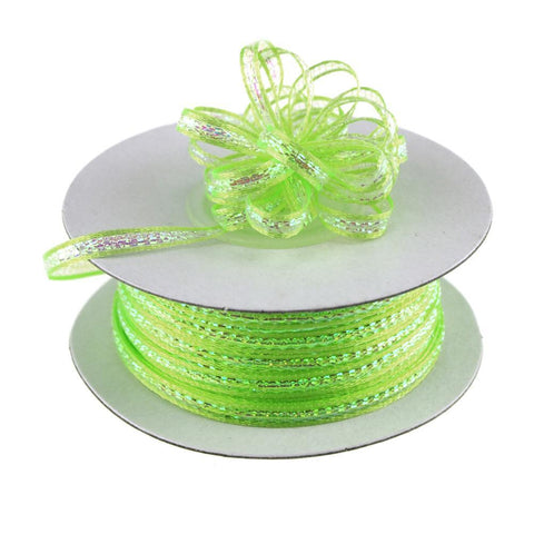 Iridescent Pull Bow Christmas Ribbon, 1/8-Inch, 50 Yards, Apple Green