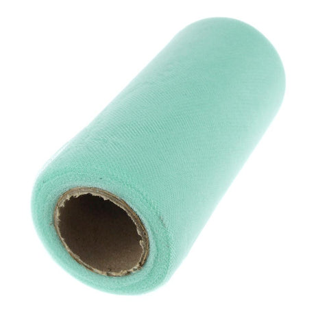 Premium American Tulle Spool Roll, Made in the USA, 6-Inch, 25 Yards, Aqua