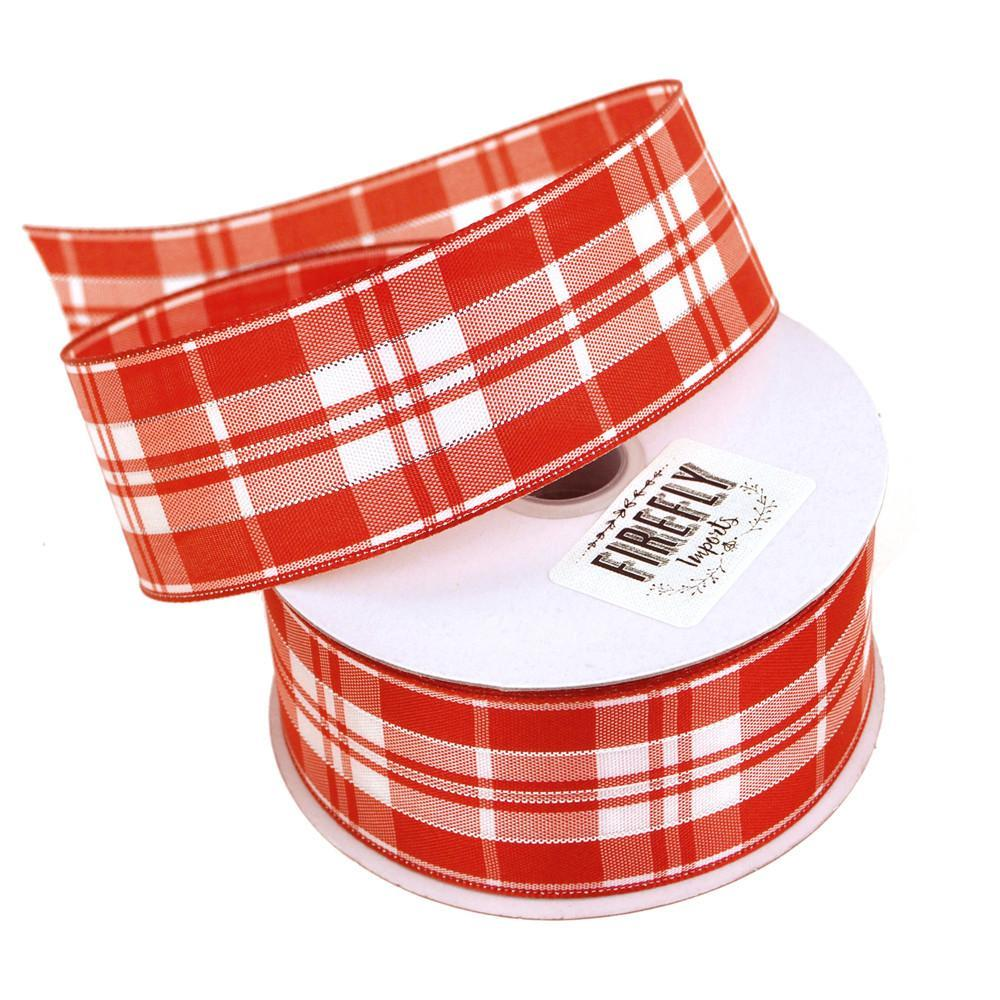Plaid Checkered Holiday Christmas Ribbon Wired Edge, 1-1/2-Inch, 10 Yards, Red