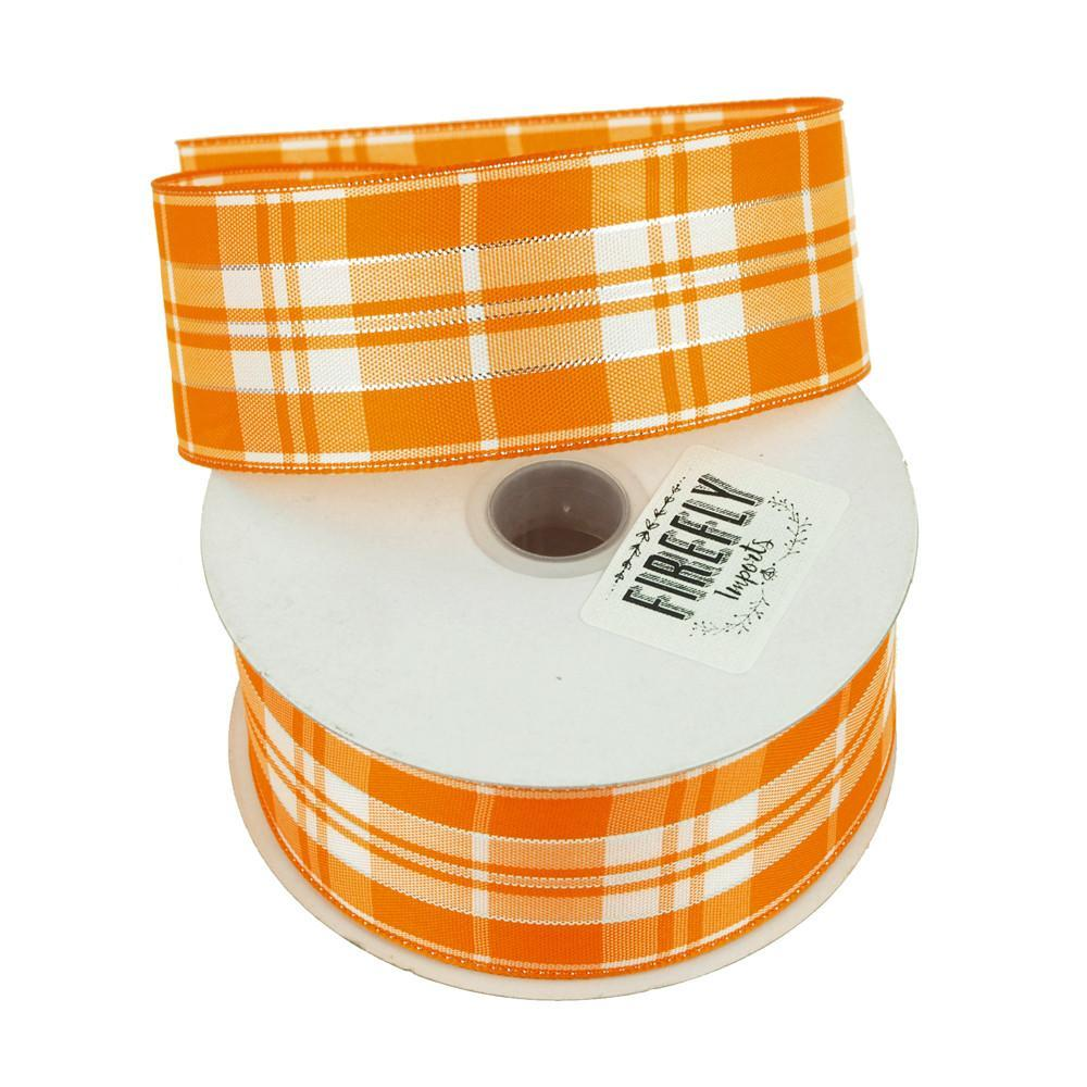 Plaid Checkered Holiday Christmas Ribbon Wired Edge, 1-1/2-Inch, 10 Yards, Orange