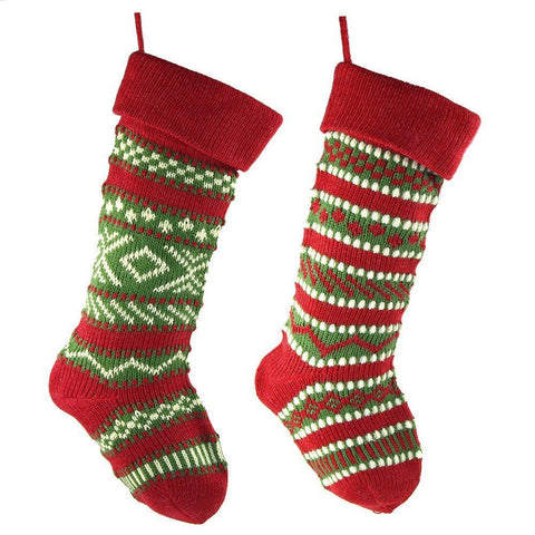 Knitted Yarn Ugly Sweater Christmas Stockings, Red, 20-Inch, 2-Piece