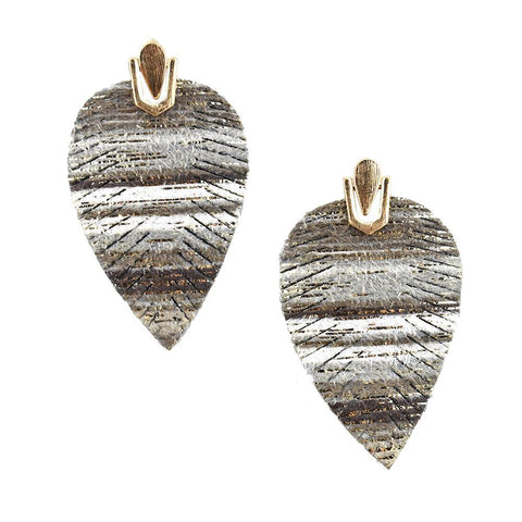 Suede Feather Drop Earrings, Gray, 2-Inch