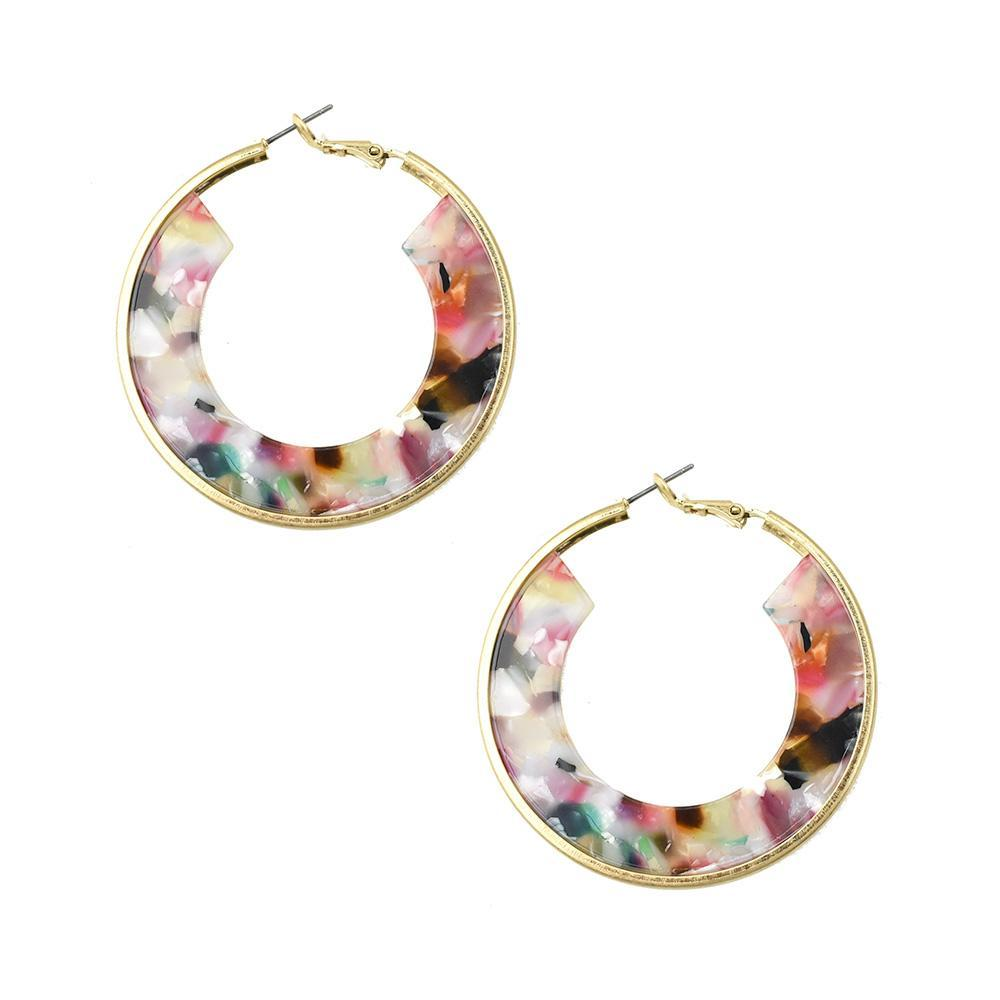 Circle Acetate Hoop Earrings, 2-Inch