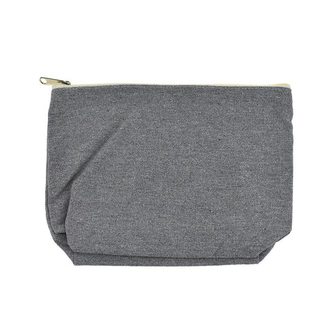 Canvas Zipper Pouch, Grey, 10-Inch