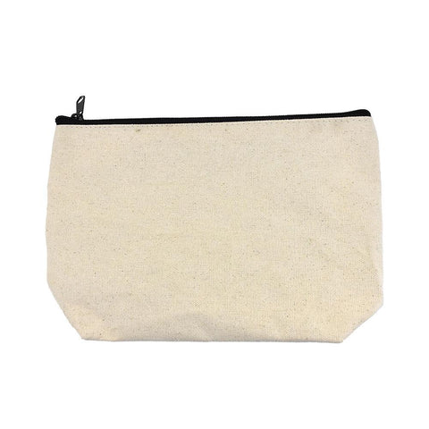 Canvas Zipper Pouch, White, 10-Inch