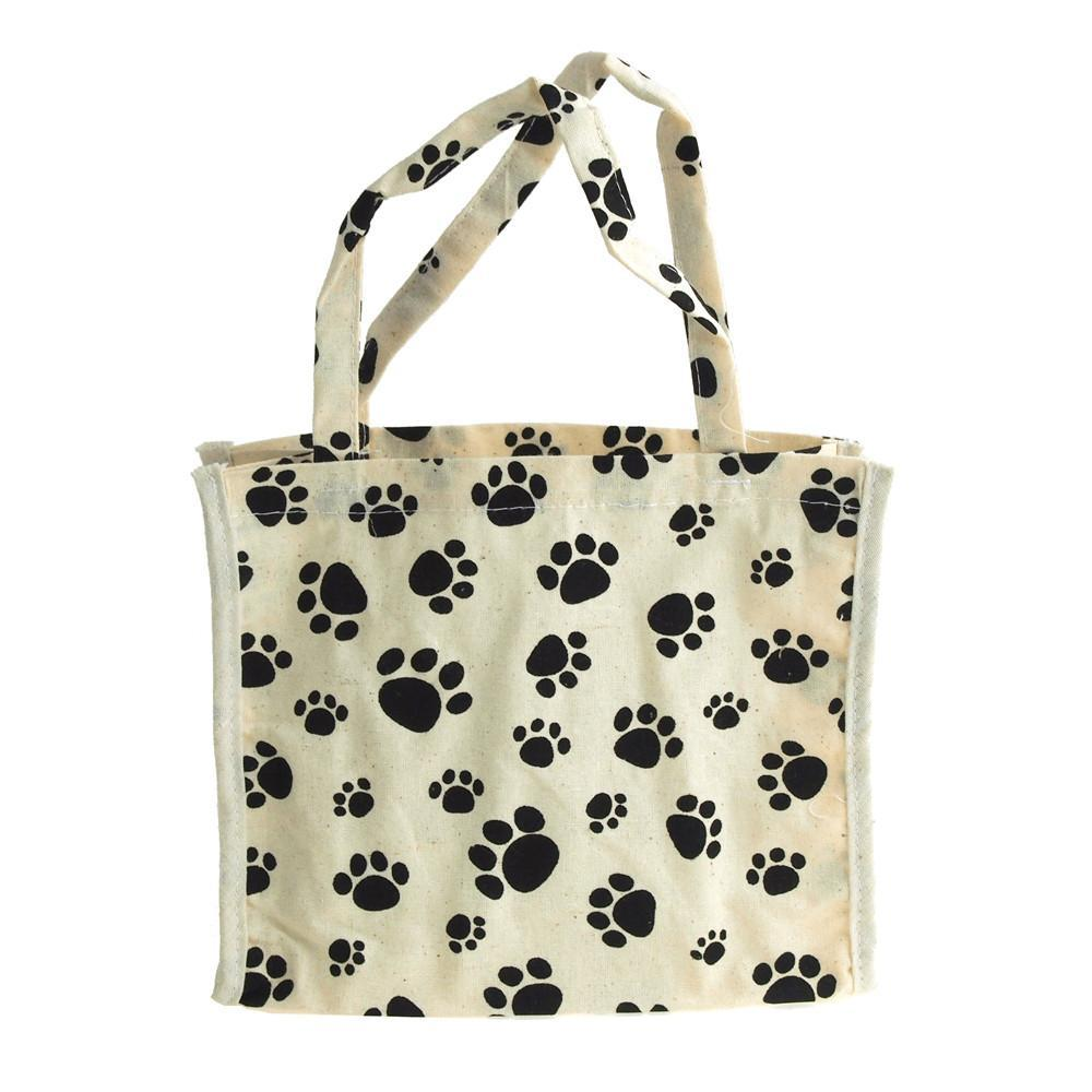 Animal Paw Print Cotton Tote Bag, 7-Inch, 6-Piece