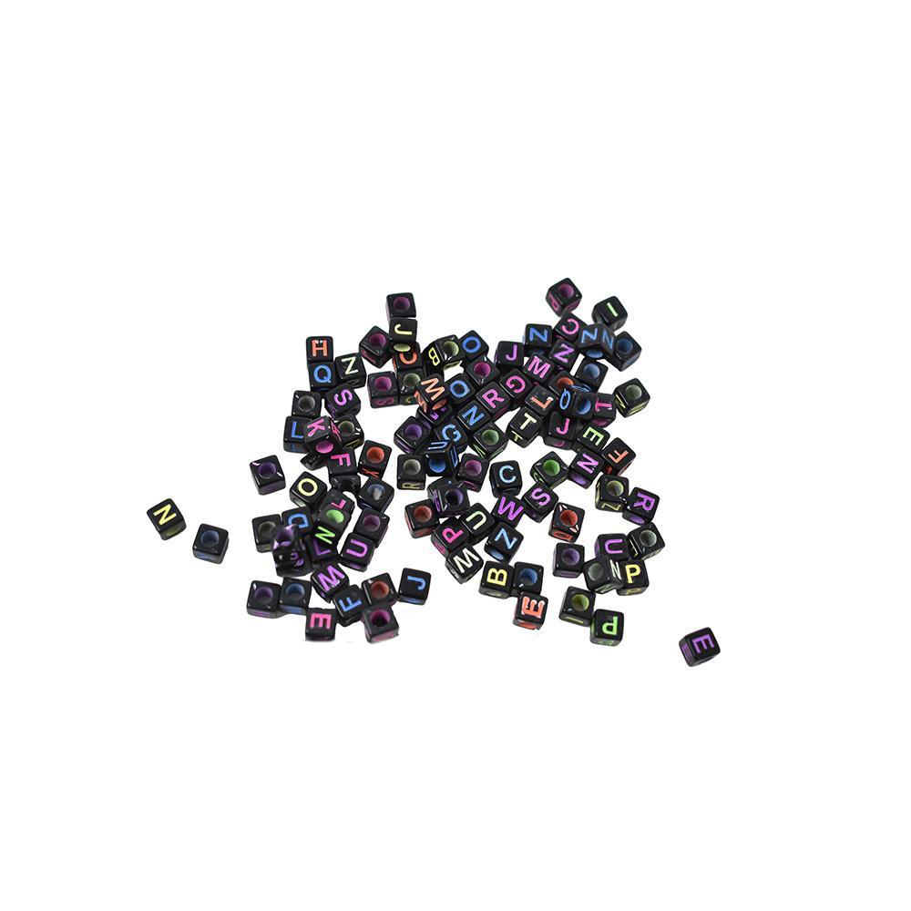 Neon Alphabet Cube Beads, Black, 1/4-Inch, 120-Piece
